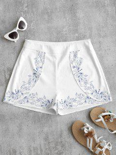 Leaves Print High Waist Shorts - White L