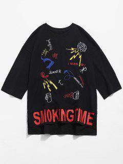 Side Slit Embroidery Grommet T-shirt - Black M