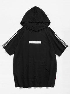 Hooded Raw Hem Zippers T-shirt - Black L