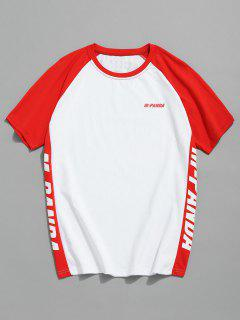 Print Raglan Sleeve Baseball Tee - Red 2xl