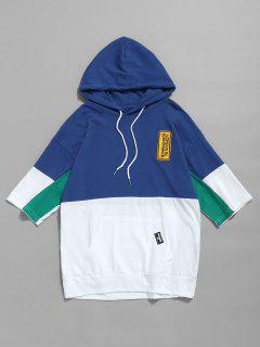 Hooded Color Block Drawstring Tee - Blue L