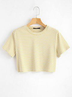 Striped Ribbed Tee - Vanilla S