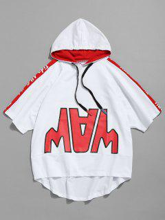 Hooded Asymmetric Drawstring Patterned T-shirt - White M