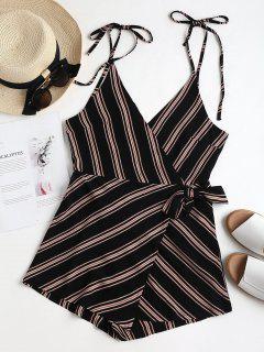 Backless Striped Overlap Romper - Black S