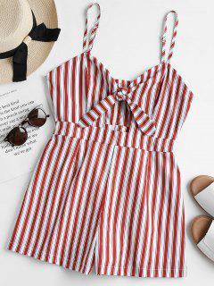 Striped Tie Front Cami Romper - Vino Tinto L
