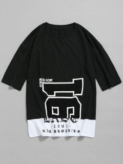 Camiseta De Manga Corta Con Estampado De Manga Corta - Negro 2xl