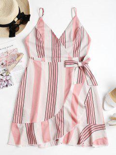 Backless Striped Cami Dress - Light Pink S