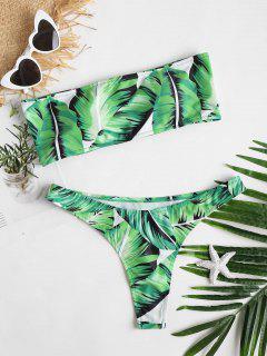 Lace-up Leaf Thong Bikini Set - Alien Green M