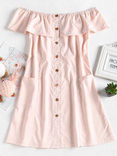 Button Up Off Shoulder Mini Dress - Light Pink M
