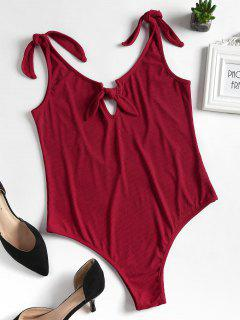 Knitted Knotted Cut Out Bodysuit - Cherry Red L