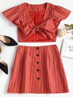 Tie Front Top And Button Up Skirt Set - Cherry Red S