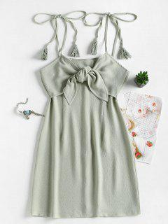 Tie Front Tassels Mini Dress - Sage Green M