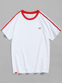 Raglan Sleeve Contrast Trim T-shirt - Red M