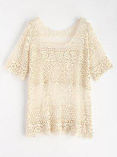 Scallop Trim Crochet Top - Warm White