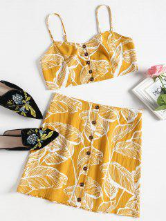 Leaves Print Buttoned Cami Set - Bright Yellow L