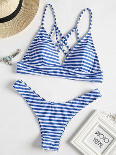 Strappy Back Striped Bikini Set - Blue L
