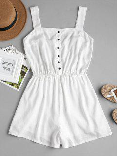 Wide Leg Button Up Romper - White Xl