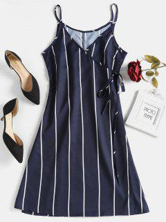 Wrap Stripd Mini Dress - Midnight Blue M