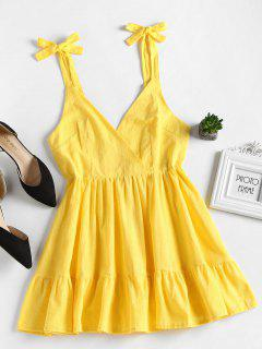 Open Back Ruffles Mini Dress - Yellow L