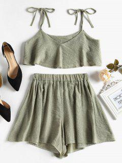 Tied Straps Overlay Top And Shorts Set - Sage Green M