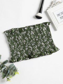 Floral Bandeau Smocked Top - Medium Forest Green S