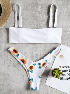 Sonnenblume Druck Hohes Bein Thong Bikini - Weiß S