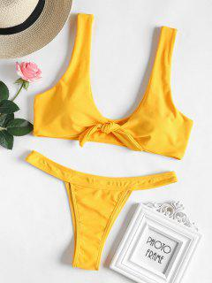 Conjunto De Bikini Bowtie Thong - Amarillo Brillante S