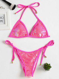 Conjunto De Bikini De Lentejuelas Con Punteado A Tope - Rosa Profundo S