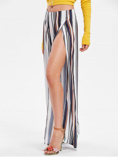shop Stripes Slit Wide Leg Pants - MIDNIGHT BLUE S Mobile