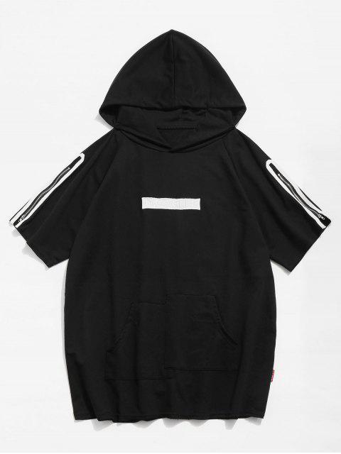 T-shirt à Capuche à Ourlet Brut Zippé - Noir M Mobile