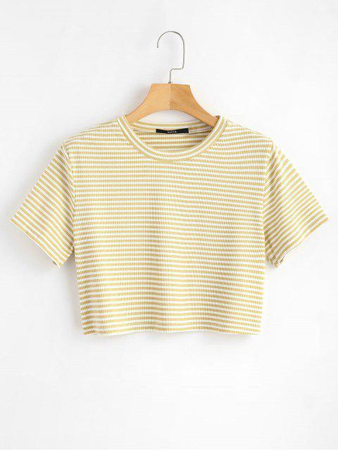 shops Striped Ribbed Tee - VANILLA L Mobile
