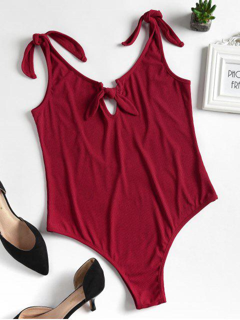 ladies Knitted Knotted Cut Out Bodysuit - CHERRY RED S Mobile