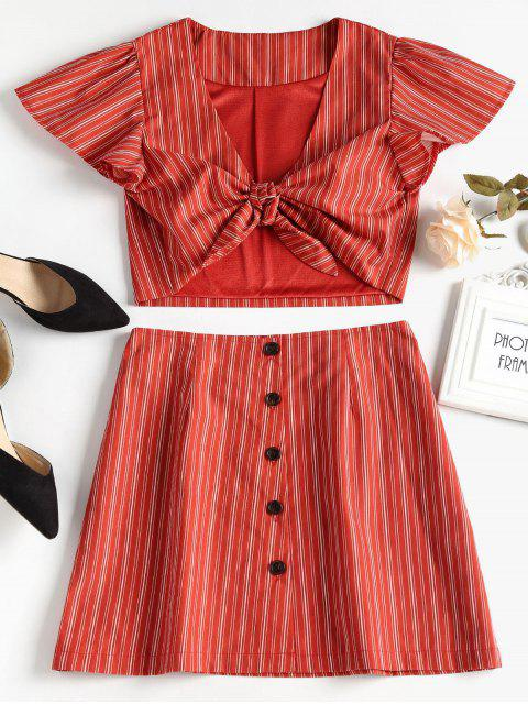 shops Tie Front Top and Button Up Skirt Set - CHERRY RED L Mobile