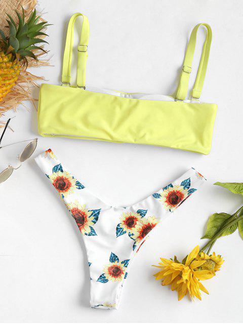 unique Sunflower Print High Leg Thong Bikini - YELLOW L Mobile