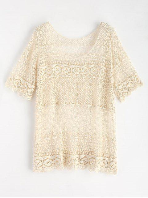 shops Scallop Trim Crochet Top - WARM WHITE ONE SIZE Mobile
