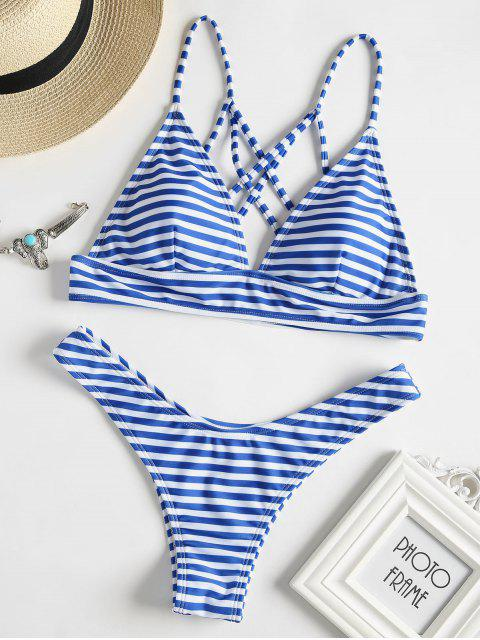 new Strappy Back Striped Bikini Set - BLUE L Mobile