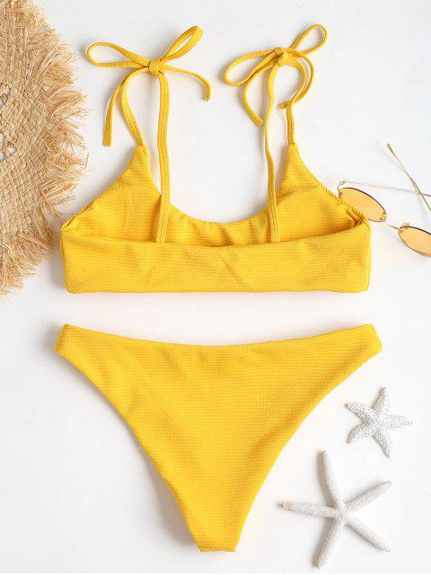 outfit ZAFUL Tie Shoulders Ribbed Bikini - BRIGHT YELLOW S Mobile