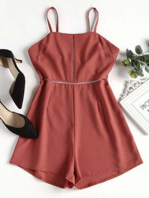 fashion Knotted Eyelet Cami Romper - BEAN RED L Mobile