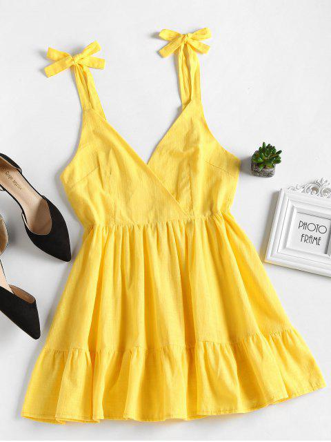 shop Open Back Ruffles Mini Dress - YELLOW L Mobile