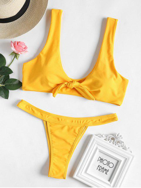 outfit Bowtie Thong Bikini Set - BRIGHT YELLOW L Mobile