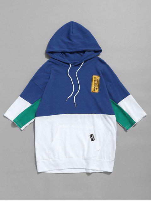 T-shirt à Capuche en Bloc de Couleur à Cordon - Bleu XL Mobile