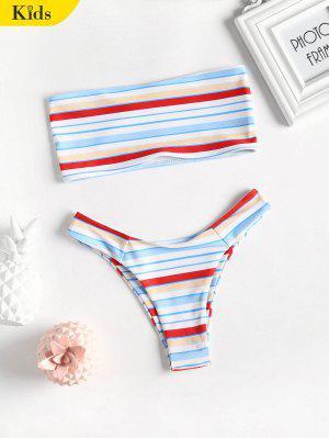 Trägerloser Bikini mit Streifen
