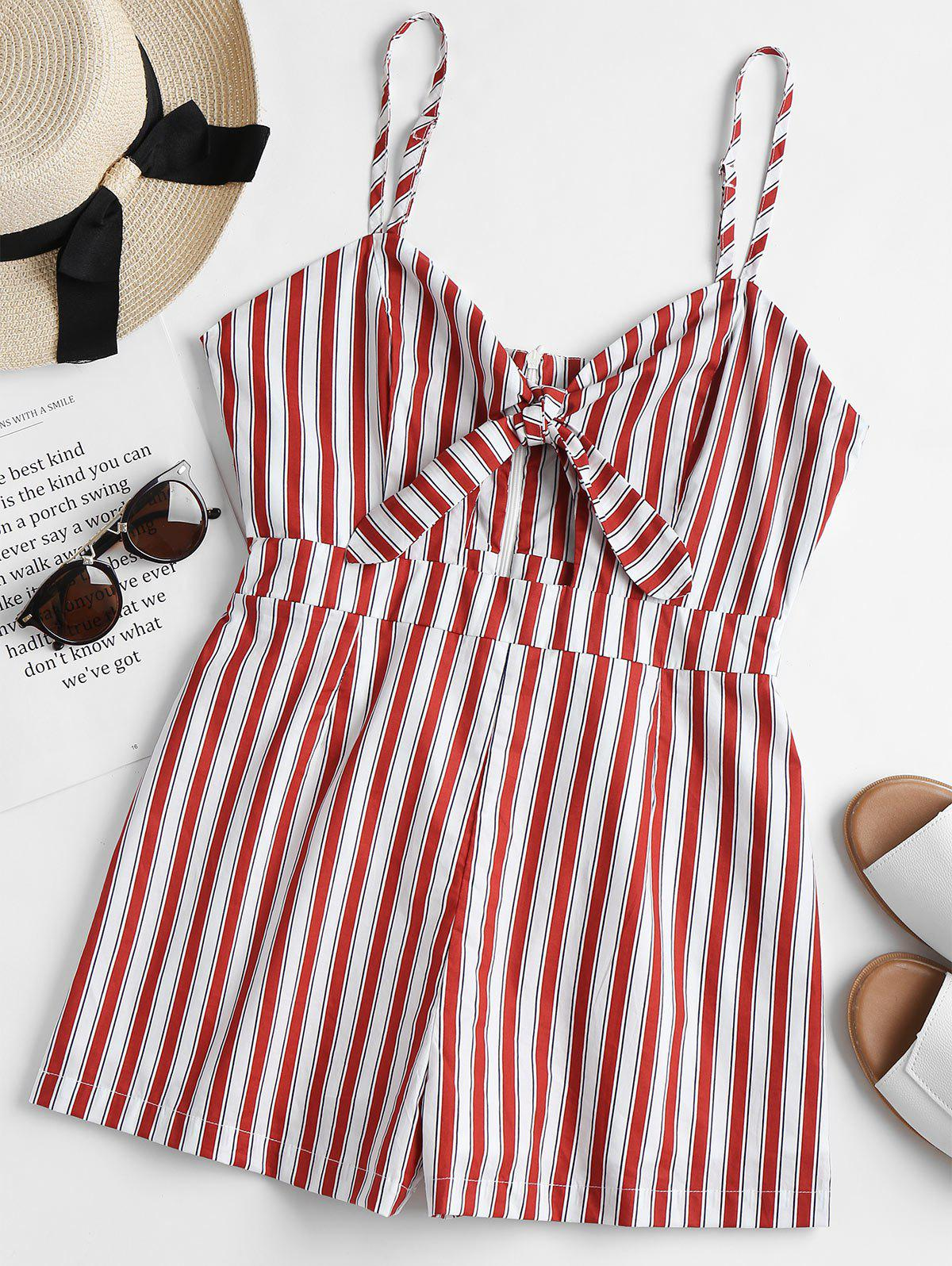 Striped Tie Front Cami Romper