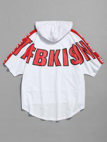 233;trico Con Cord Asim Xl 243;n Estampada Camiseta Capucha Blanco Con YEw6xX
