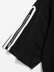 Negro El Bajo Camiseta Cremallera Xl Dobladillo En Con Con n01xSU