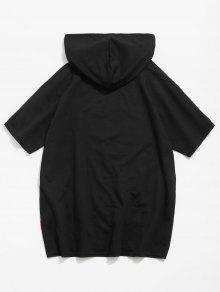 Xl Con Bajo Dobladillo En Cremallera El Camiseta Negro Con Eqv8BB