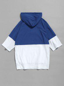 243;n Color Azul Con Con Cord Xl Camiseta De Bloque Capucha Con 7tqYwxzE