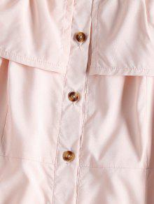 L Sin Mangas Mini Vestido Claro Botones Rosa Con ZnRzwRW
