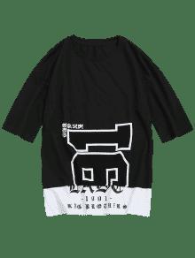 Corta L Manga De Camiseta Estampado Negro Manga De Corta Con 10FwWqvz