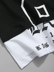 Camiseta Corta Negro Corta De Manga Con Estampado De L Manga vHvfwZqg